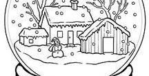 rajzolt minták: tél, karácsony