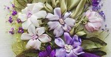 szalaghímzés, virágok