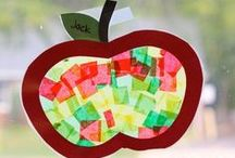 Themes & Schemes: Fall, Leaves, Apples & Acorns / Fall-themed ideas for PreK and Kindergarten, including art ideas, crafts, literacy and math centers, bulletin boards and more!  Also links to lots of great free printables!