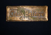 """AEM's Scripture plaques / AE Mitchell, my great-grandfather, carved these.  """"You shall write [these words of mine] on the doorposts of your house"""" (Deut 6:9)"""