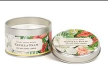 Vanilla Palm / Vanilla Palm by Michel Design Works  Bring home the beauty of the tropics with a warm heady scent and an irresistible collection of bold leaves and blossoms.  Scent: Island, vanilla, coconut and pineapple