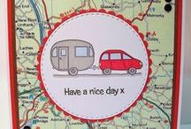Car and Caravan Dinkie Stamp / Cards made using our new 'Car and Caravan' Dinkie stamp