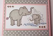 Splashing Elephants Dinkie Stamp / Cards made using our new 'Splashing Elephants' Dinkie Stamp