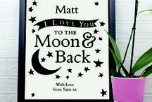 To the Moon and Back... / This selection of products is one of our most popular ranges for Valentines as it can be used for either gender. A simple yet meaningful design, that would suit any style of room. Beautiful Crystal Tokens that would look great on a work desk to remind you of your other half, a picture frame for your bedside table, a trinket box for a possible engagement ring? Lots of different things to choose from!