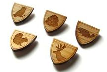 cabin + cub pins / A selection of laser cut bamboo lapel/tie pins from Cabin + Cub.