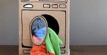 DIY: aus Pappkarton / Ideen, was man alles mit einem Pappkarton basteln kann. Es gibt so viel mehr Möglichkeiten, als das gute alte Häuslein...