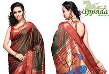 Paithani Sarees / Paithani(Marathi: पैठणी) is a variety ofsari, named after thePaithantown inAurangabadMaharashtrastate where they are woven by hand. Made from very finesilk, it is considered as one of the richest saris in Maharashtra. Paithani is characterised by borders of anobliquesquare design, and apalluwith apeacockdesign. Plain as well as spotted designs are available. Among other varieties. Open the Link :- http://www.uppada.com/products/paithani-sarees