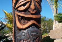 Totems, Faces, Heads, Masks made of wood / ART