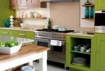 Colorful Kitchens / Kitchens with colorful cabinets and/or back splashes that inspire me to go bold with my own kitchen.