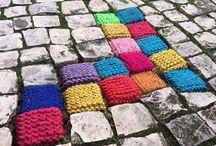 Knit Yarn Bombing / Yarn Bomb project ideas and inspiration