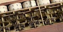 Mechanisms / Mechanical devices: calculators, timepieces, everything else with levers and gears.