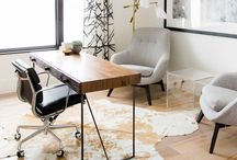 Interior • Office / Interior ideas for a modern office; spacious, airy, minimalistic, simple, classy, scandinavian, wood, bright, art.  Colourpalette: blue, grey, blushed pinks, white, gold, marbel.
