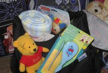 "The types of items we use to fill our ""comfort bags"" / These are all items that have bee donated to us. We use them to add to our ""comfort bags"" or give them to Social workers for their clients."