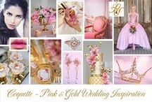 Wedding Inspiration ~ Pink & Golds / Coquette board - all things Pink & Gold inspired by Chantal Mallett Bridal Couture's Coquette bridal gown design. #weddinginspiration
