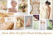 Wedding Inspiration ~ Blush, Apricot, Rose Gold & Pistachio / Aurelia board - all things Blush, Apricot, Rose Gold, Copper & Gold inspired by Chantal Mallett Bridal Couture's  Aurelia bridal gown design. #weddinginspiration
