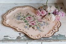 TRAYS~*~ / A tray is a great decorating item.  They can be art on a wall, used for serving, placed in guest bath or on a guest bed, turn an ottoman into a table or create a table top display.  A favorite decor accessory!