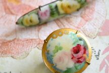 BROOCHES~*~ / So appealing!  Brooches can be pinned on pillows or evening bags, larger ones make great napkin rings, they are a lovely way to hold a scarf in place and so many are hand painted and have history.