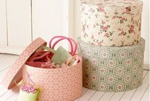 BOXES~*~ / Boxes are beautiful and functional.  They make lovely decorating vignettes, they store treasures and many whisper history with their coverings of vintage fabric or paper.
