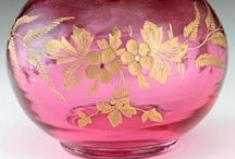 Cranberry Glass~*~ / The rich pink color of this glass comes from the gold used in the production process and I have always loved it.  New cranberry pieces are available but the vintage ones are exceptionally lovely.