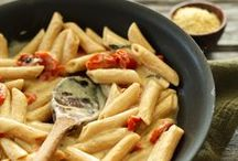 ★My yummy PASTA recipes / Pasta-- is a staple food of traditional Italian cuisine, with the first reference dating to 1154 in Sicily.It is also commonly used to refer to the variety of pasta dishes. Typically pasta is made from an unleavened dough of a durum wheat flour mixed with water and formed into sheets or various shapes, then cooked and served in any number of dishes...