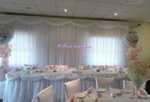 Wedding decorations / Chair covers, centerpieces, back drops, wall and ceiling drapes