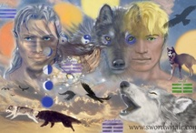 """Raven and wolf / In myth, Raven and Wolf are often found together. In science/biology, ravens lead wolves to prey, and share in the feast. In North America, Raven helps bring the world into being, Wolf is seen as a strong family leader, one you would emulate. If it says """"swordwhale"""" it's mine."""
