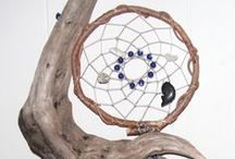 dreamcatchers (and other natural wonders) / Originating with the Ojibwe, this spiderweb on a willow hoop spread to other Native American cultures, and the rest of the world. Bad dreams are caught in Spider Woman's web, good, inspiring dreams pass through the hole in the center, sliding down the dangling feathers to the dreamer. This board contains traditional Native type designs as well as more creative use of hoops, string, and shapes by other earth-spirits.