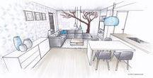 Moje práce / Interiérový design - vizualizace, koláž nebo náladové schéma... Takový je proces navrhování interiéru v mém podání.