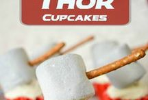 MARVELous Parties (DC too) / Capcakes, Hulk mocktails, and Thor's hammers made from marshmallows and pretzel sticks. Super(hero) party ideas. Oh, and that white fluffy wedding cake? turn it around...