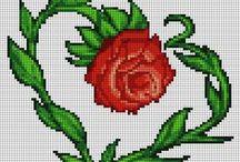 POINT DE CROIX : les roses