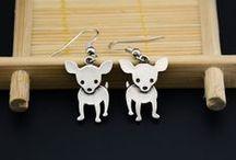 Dog Earrings / Fun and beautiful dog earrings.  Drop earrings featuring your favorite pet breed!