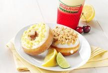 Bounty of Fruit Flavors / Enjoy a bounty of fruit flavors with our new lemon and lime duo of doughnuts and three fruity blended beverages. Our new Glazed Lemon Cake with Cream Cheese Icing and Key Lime KREME™ Pie doughnuts are available through July 8 at participating Krispy Kreme US and Canada shops.