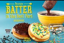 Batter Doughnuts! / Irresistible fresh-from-the-spoon flavor of batter in two tempting new treats,Brownie Batter and Birthday Cake Batter Doughnuts! / by Krispy Kreme