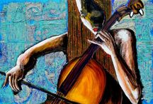 Músicos y música / Digital art, inspiration, passion, feelings, new art, paint, colorful, real art, people, music