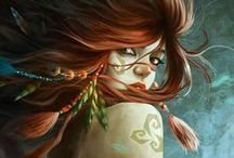 Fantasy/mythical / Mythical creatures and such shown in a variety of art styles.