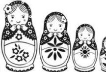 Poupées russes chinoises japonaises a colorier / Poupées russes chinoises japonnaises a colorier