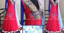 Anarkali salwar suit / The anarkali suit is made up of a long, frock-style top and features a slim fitted bottom.