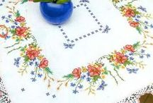 Cross stitch Table cloth, Table runner, Bedsheets