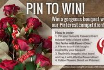 Get Festive With Flowers Direct / This Christmas, we're giving you the chance to win one of our stunning festive bouquets. Simply follow the instructions on the pin at the top of the board, and use #festiveflowersdirect to enter - good luck!