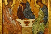 Holy Trinity Rublev / Tablica szeroko związana z Trójcą Świętą Rublowa. Są to głównie materiały i inspiracje przydatne podczas tworzenia. Realizacje innych twórców, ciekawe rozwiązania techniczne poszczególnych elementów.