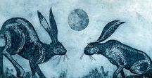 Kerry Buck, Printmaker and Painter / Everywhere I look there are pictures: long-tailed tits in the brambles; a hare startled by our passing; and last year's cow parsley skeletal against a Norfolk sky. These are the things which inspire my printmaking and when things become too serious I grab a paintbrush and invent my own landscapes filled with tiny birds and animals for other people to find.