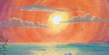 Sunset Art By Green pebble / Beautiful Greetings Cards Featuring Art By Green Pebble Artists