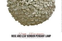 Pendant Lights / Hand-decorated wrought iron pendant lights  by GBS. Country chic and Shabby Collections, kitchen lighting, romantic bedrooms, Bonbon Lamps, Pendant with Roses. As with all GBS Firenze products, pendant lights are made of wrought iron and decorated entirely by hand: leaf by leaf, flower by flower.  All colour and sizes are customizable.