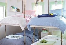 Kiddos Sharing Space / Fun ideas for sharing a bedroom. All these bedrooms need is bedding from Sweet N Sour Kids designed by Davenport Home Furnishings. All designes from soft and sweet to bold and bright, these beds just need FUN