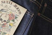 """Skull Jeans / The philosophy of the brand is simple: """"Memento mori,"""" or, """"Remember that you will die."""" All living things do inevitably die, but the craftsmanship seen in Skull's jeans makes them a thing of life. Skull focuses deeply on quality material with quality stitching. Yes, they wear and age—obtaining that vintage feel—Skull's modern construction makes them timeless all their own."""