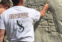 """Fausse pierre """"en cours"""". La pierre, les murs, nous . ⚒ / Dans ce tableau se trouvent des photos de chantiers en cours de réalisation (projection, pigmentation, sculpture, éponge, séchage...) ⚒. L'enduit pierre (ou enduit sculpté), est la spécialité d'Imipierre."""