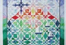 Quilt Storms, Snails and Shakespeare / So many variations on Storm at Sea quilts