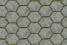 paving outdoor hexagonal textures / royalty free professional hexagonal paving outdoor seamless textures for architectural 3d visualization and all CG artist