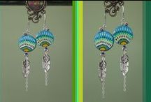 Earrings / Handmade wood painted earrings with charms and stones