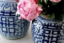 Blue and white china collection.
